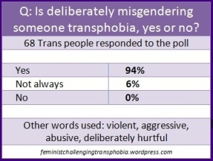 Q: Is deliberately misgendering someone transphobia, yes or no? 68 Trans people responded to the poll Yes 94% Not always 6% No 0% Other words used: violent, aggressive, abusive, deliberately hurtful. feministchallengingtransphobia.wordpress.com