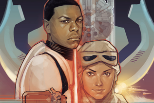 "[image: fan art depicting Finn, a black male stormtrooper, and Rey, the white female hero from ""The Force Awakens"" - they are depicted next to the villain's lightsaber, which looks like a burning cross]"