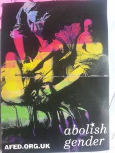 [image: a picture of two women holding a knife to a man's throat. text reads: abolish gender]