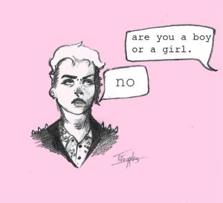 "[image: an androgynous person is asked ""are you a boy or a girl?"" they answer ""no""]"
